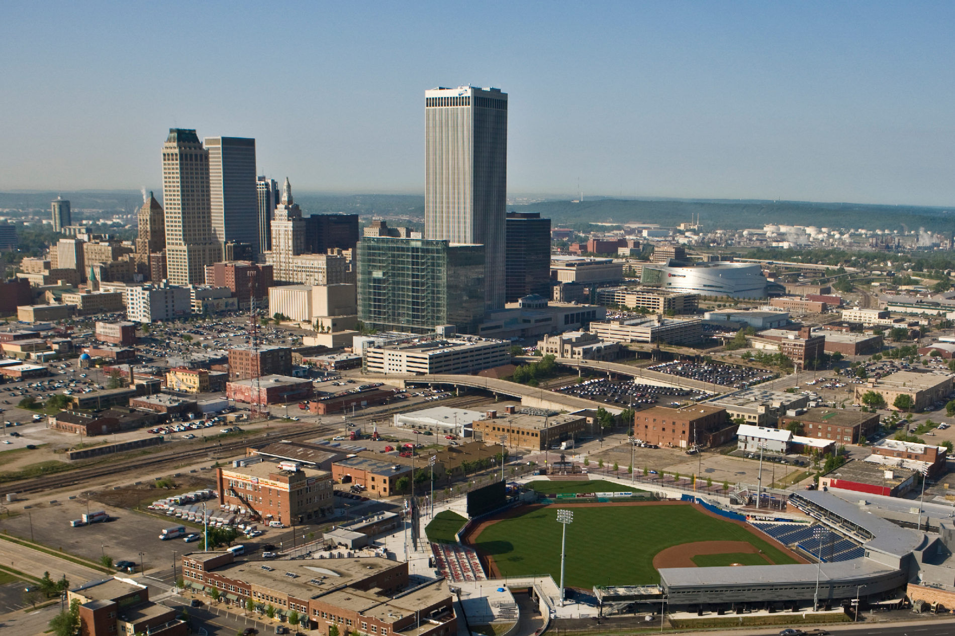 Aerial view of Tulsa skyline with the baseball field in the foreground