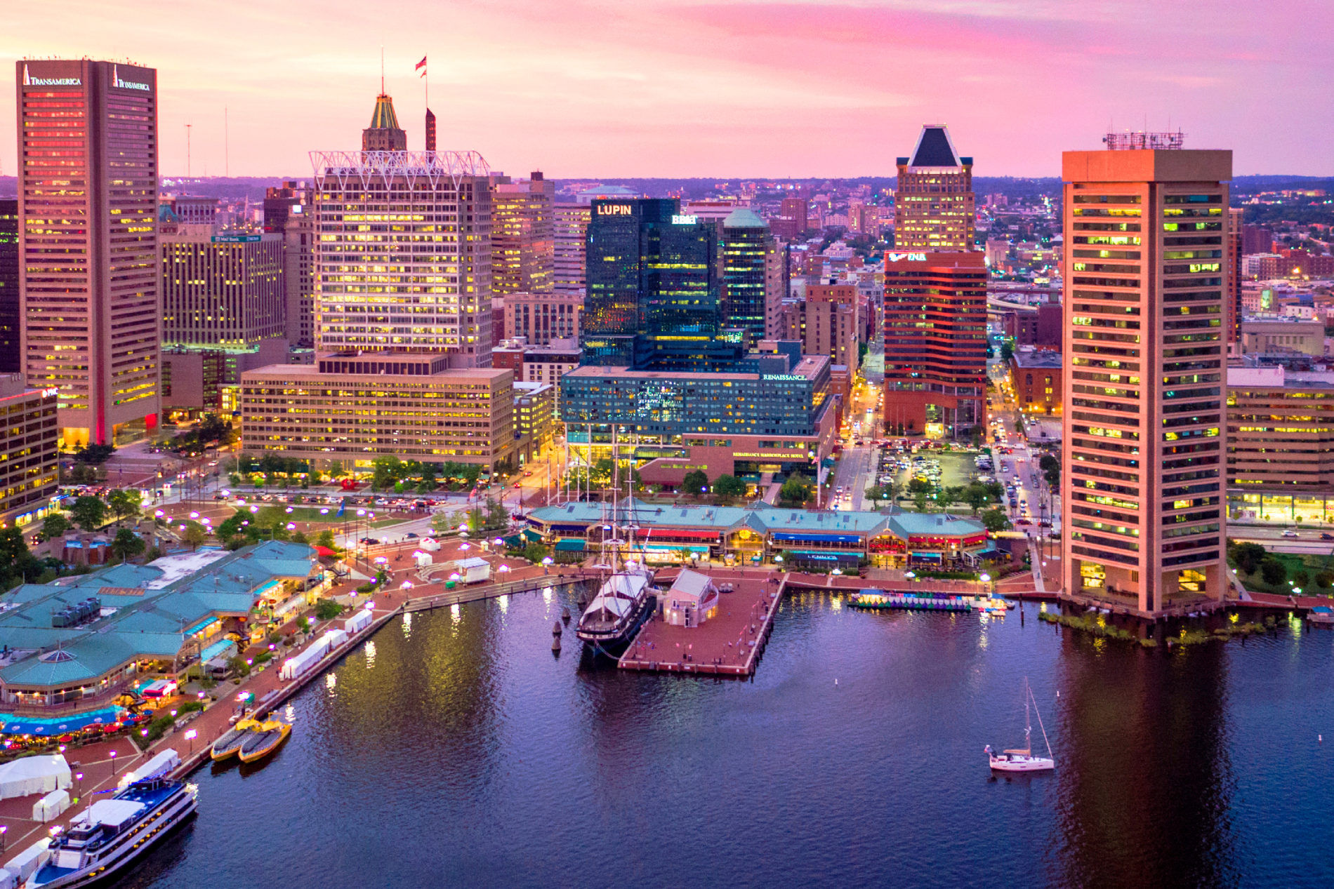 Drone view of Baltimore skyline at dusk