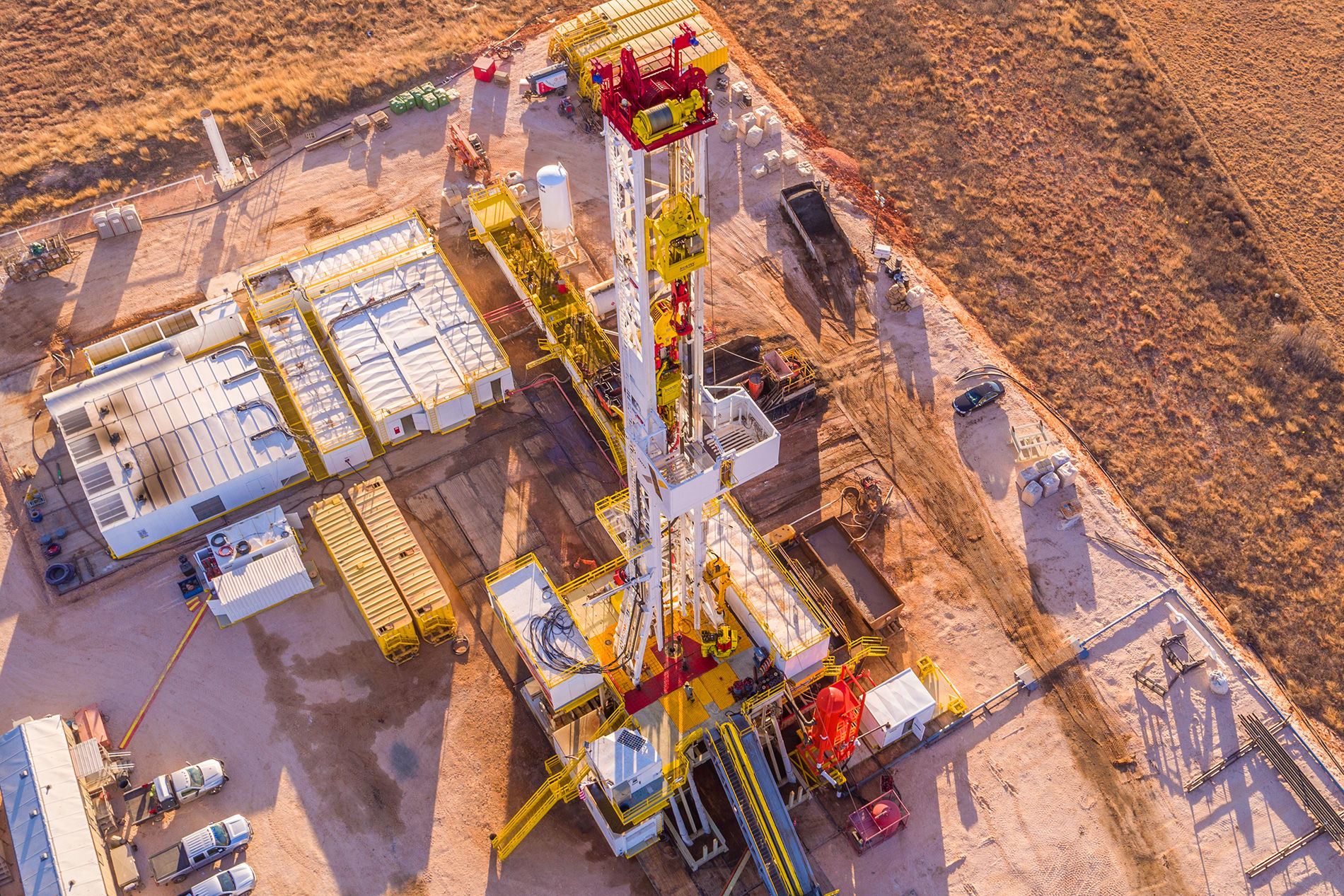 Aerial view of a oil rig at first light